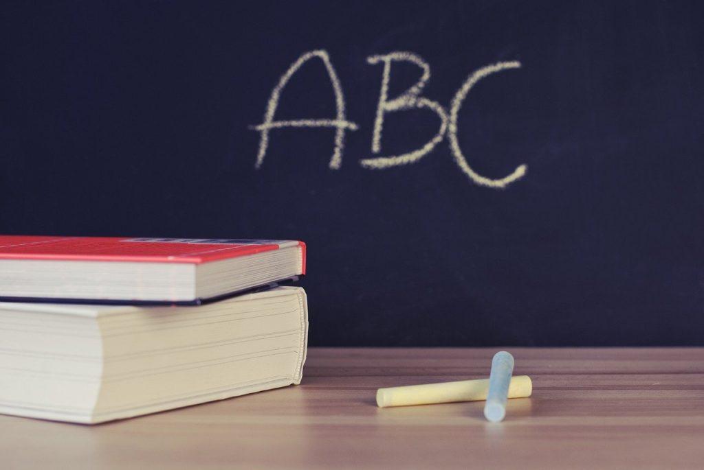 school, books, desk