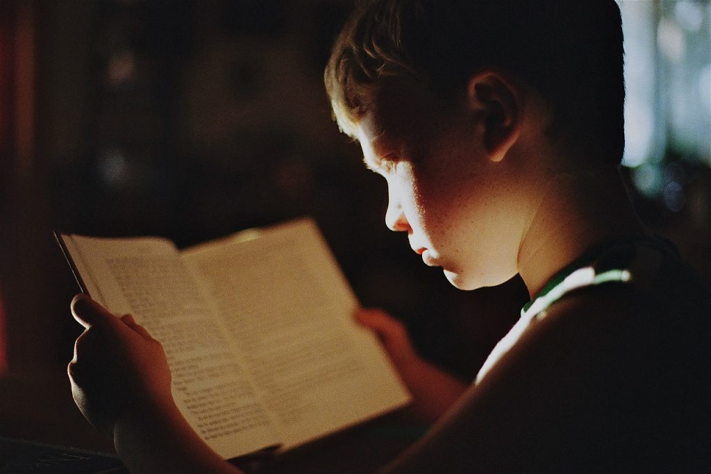 boy, book, reading